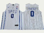 Mens Ncaa Nba Duke Blue Devils #0 Jayson Tatum White V Neck College Basketball Jersey