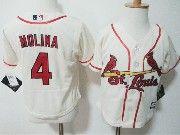 Kids Majestic Mlb St.louis Cardinals #4 Yadier Molina Cream Jersey