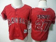Kids Mlb Majestic Los Angeles Angels #27 Mike Trout Red Jersey