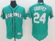 Mens Majestic Seattle Mariners #24 Ken Griffey Jr Green 2017 Spring Training Flex Base Jersey
