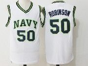 Mens Ncaa Nba San Antonio Spurs #50 David Robinson White Naval Academy Navy Midshipmen College Basketball Jersey