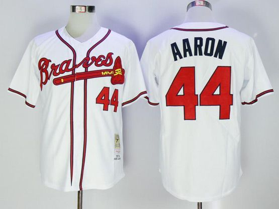 Mens Majestic Mlb Atlanta Braves #44 Hank Aaron White Cool Base Baseball Jersey