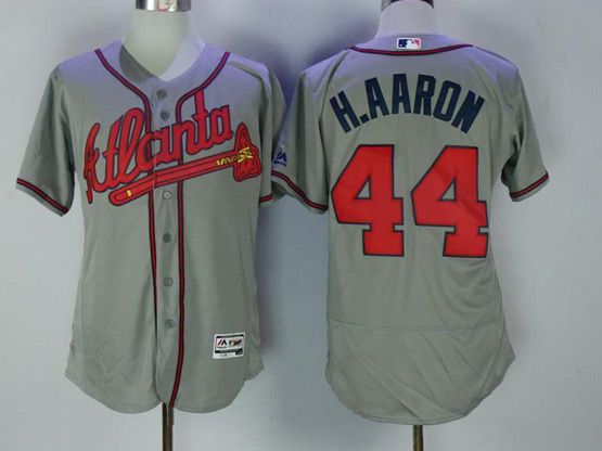 Mens Majestic Atlanta Braves #44 Hank Aaron Grey Flex Base Jersey