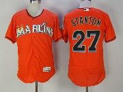 Mens Majestic Miami Marlins #27 Giancarlo Stanton Orange Flex Base Jersey