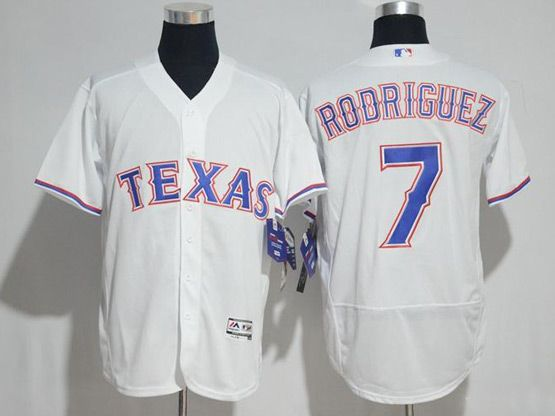 Mens Majestic Mlb Texas Rangers #7 Ivan Rodriguez White Flex Base Jersey