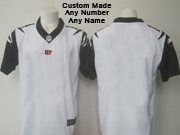 Mens   Cincinnati Bengals Custom Made White Color Rush Limited Jersey