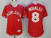 Mens Majestic Toronto Blue Jays #8 Kendrys Morales Red Flex Base Jersey