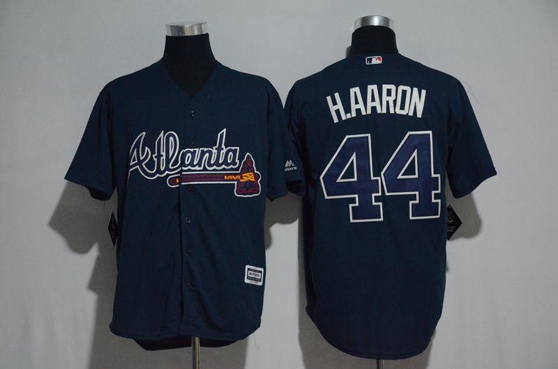 Mens Majestic Mlb Atlanta Braves #44 Hank Aaron Blue Cool Base Jersey