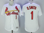 Mens Majestic St.louis Cardinals #1 Ozzie Smith White Flex Base Jersey
