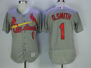 Mens Majestic St.louis Cardinals #1 Ozzie Smith Grey Flex Base Jersey