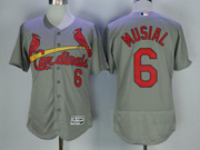 Mens Majestic St.louis Cardinals #6 Stan Musial Grey Flex Base Jersey