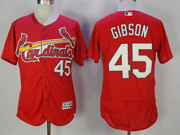 Mens Majestic St.louis Cardinals #45 Bob Gibson Red Flex Base Jersey