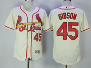 Mens Majestic St.louis Cardinals #45 Bob Gibson Cream Flex Base Jersey