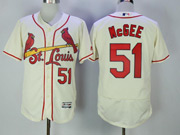 Mens Majestic St.louis Cardinals #51 Willie Mcgee Cream Flex Base Jersey