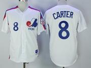 Mens Mlb Montreal Expos #8 Carter White Throwbacks Cool Base Jersey