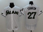 Mens Majestic Miami Marlins #27 Giancarlo Stanton White 2017 Memorial Day Flex Base Jersey