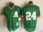 Mens Mlb Oakland Athletics #24 Rickey Henderson Green&white Mitchell&ness Pullover Mesh Throwbacks Jersey