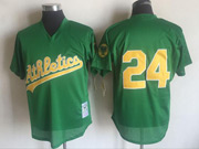 Mens Mlb Oakland Athletics #24 Rickey Henderson Green Mitchell&ness Pullover Mesh Throwbacks Jersey
