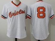 Mens Mitchell&ness Mlb Baltimore Orioles #8 Ripken White Pullover Throwback Mesh Jersey