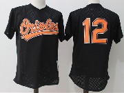 Mens Mitchell&ness Mlb Baltimore Orioles #12 Dariel Alvarez Black Pullover Throwback Mesh Jersey