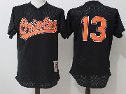 Mens Mitchell&ness Mlb Baltimore Orioles #13 Manny Machado Black Pullover Throwback Mesh Jersey