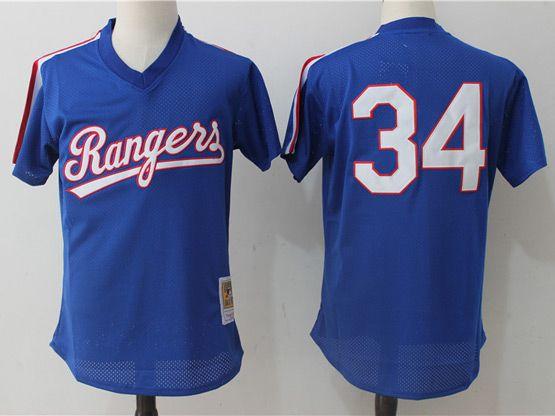 Mens Mlb Texas Rangers #34 Nolan Ryan Blue Pullover Throwback Mesh Jersey
