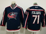 Youth Reebok Nhl Columbus Blue Jackets #71 Nick Foligno Dark Blue Home Premier Jersey