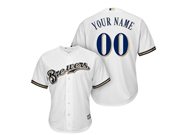 Mens Women Youth Mlb Milwaukee Brewers Custom Made Full White Cool Base Jersey
