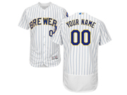 Mens Majestic Milwaukee Brewers Custom Made White Stripe Alternate Flex Base Jersey
