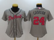 Women Mlb Detroit Tigers #24 Miguel Cabrera Grey Cool Base Jersey