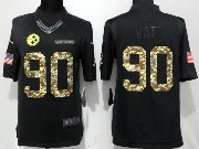 Mens Nfl Pittsburgh Steelers #90 T. J. Watt Black Anthracite Salute To Service Limited Jersey