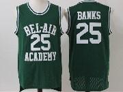 Mens Nba Movie The Fresh Prince Of Bel-air Academy #25 Carlton Banks Green Jersey
