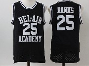Mens Nba Movie The Fresh Prince Of Bel-air Academy #25 Carlton Banks Black Jersey