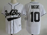 Mens Nba Biggie Smalls Bad Boy #10 Movie White Baseball Jersey