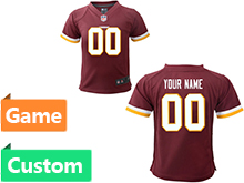 Kids Washington Redskins (custom Made) Red Game Jersey