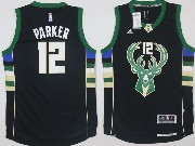 Mens Nba Milwaukee Bucks #12 Jabari Parker Black Fashion Jersey