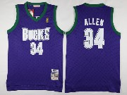 Mens Nba Milwaukee Bucks #34 Ray Allen Purple Hardwood Classic Swingman Jersey