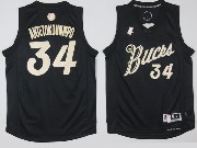 Mens Nba Milwaukee Bucks #34 Giannis Antetokounmpo Black Jersey