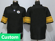 Mens Women Youth Pittsburgh Steelers Custom Made Black Color Rush Limited Jersey