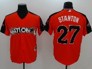 Mens Mlb Miami Marlins #27 Giancarlo Stanton 2017 Mlb All Star Game National Orange Cool Bass Jersey