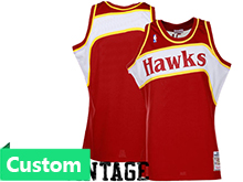 Nba Atlanta Hawks (custom Made) Red Hardwood Throwback Jersesy
