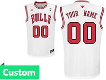 Mens Women Youth Nba Chicago Bulls (custom Made) White Jersey