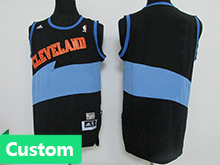 Nba Cleveland Cavaliers Custom Made Dark Blue&light Blue Hardwood Classics Jersey