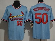 Mens Majestic St.louis Cardinals #50 Adam Wainwright Blue Pullover Throwbacks Jersey