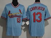 Mens Majestic St.louis Cardinals #13 Matt Carpenter Blue Pullover Throwbacks Jersey