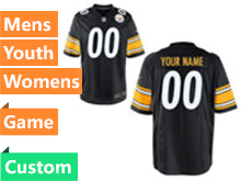 Mens Women Youth Nfl Pittsburgh Steelers Custom Made Black Game Jersey