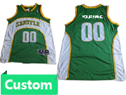 Mens Nba Seattle Supersonics Custom Made Green & White Jersey