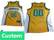 Mens Women Youth Nba Seattle Supersonics Custom Made Yellow Jersey