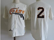 Mens Mlb Houston Colts #2 Fox Cream Throwbacks Jersey (no Name)