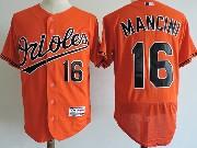 Mens Majestic Baltimore Orioles #16 Trey Mancini Orange Flex Base Jersey